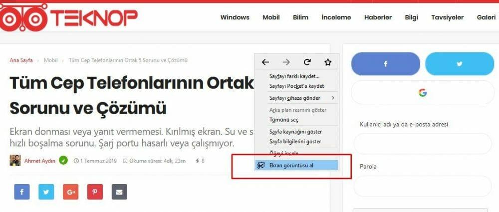 Chrome ve Firefox'ta Tam Ekran Web Sitesi Ekran Görüntüsü Alma 2 – Firefoxta tam web sayfası ekran görüntüsünü alın