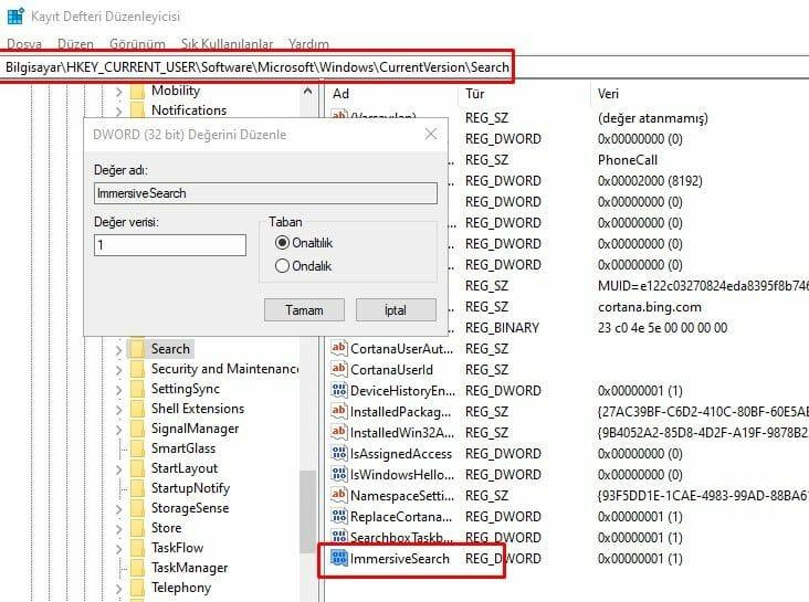 Windows 10'da Kapsamlı Arama ve Yuvarlatılmış Köşeleri Etkinleştirin 1 – ImmersiveSearch