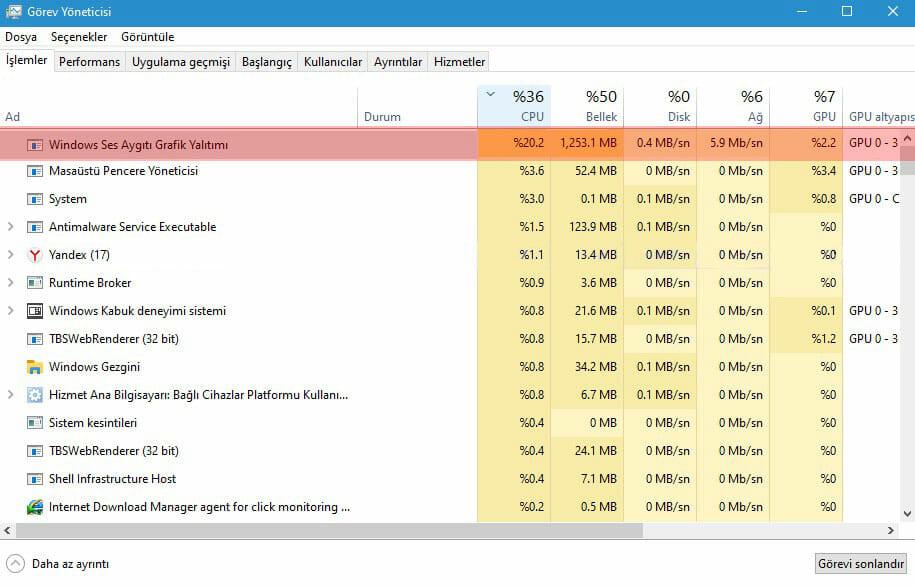 Yüksek İşlemci ve Ram Kullanan audiodg.exe Sorunu Windows 10 Kesin Çözüm