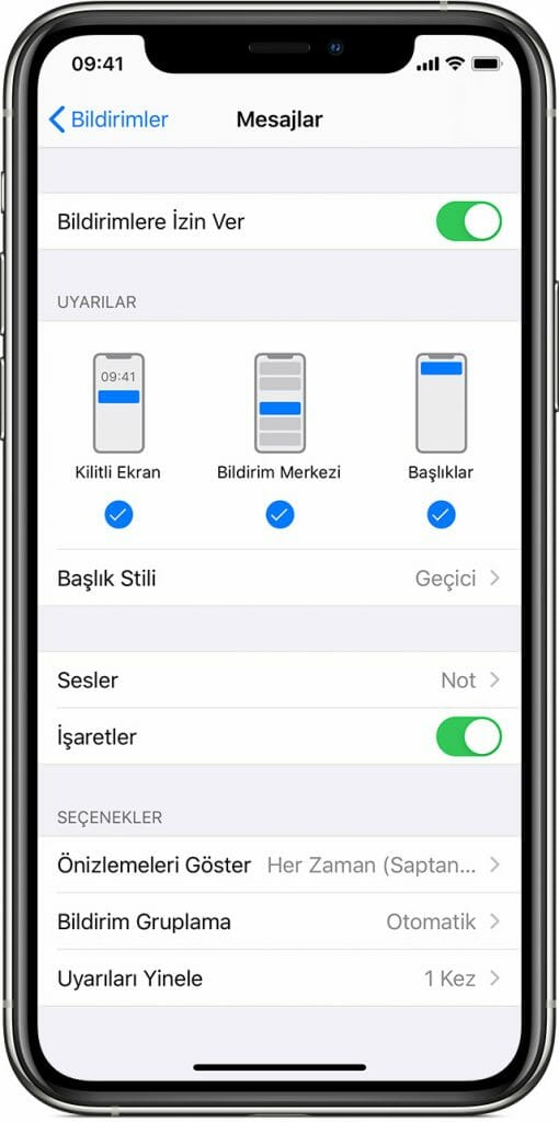 ios13 iphone xs settings notifications messages