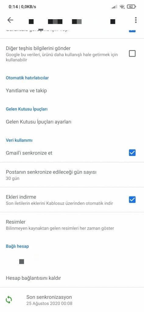 E-posta Senkronizasyonu