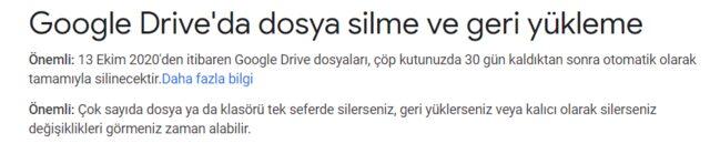 Google Drive çöp kutusu silme