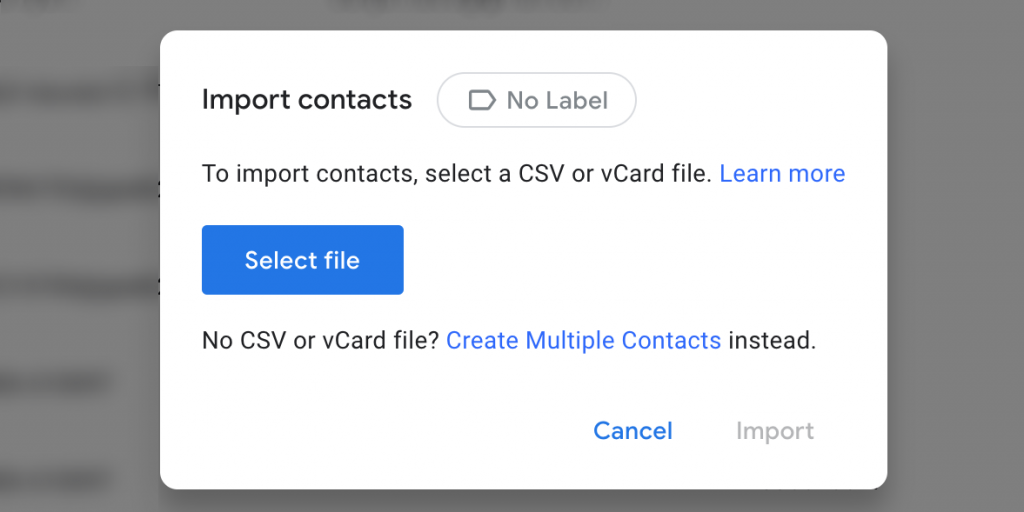 import contacts google