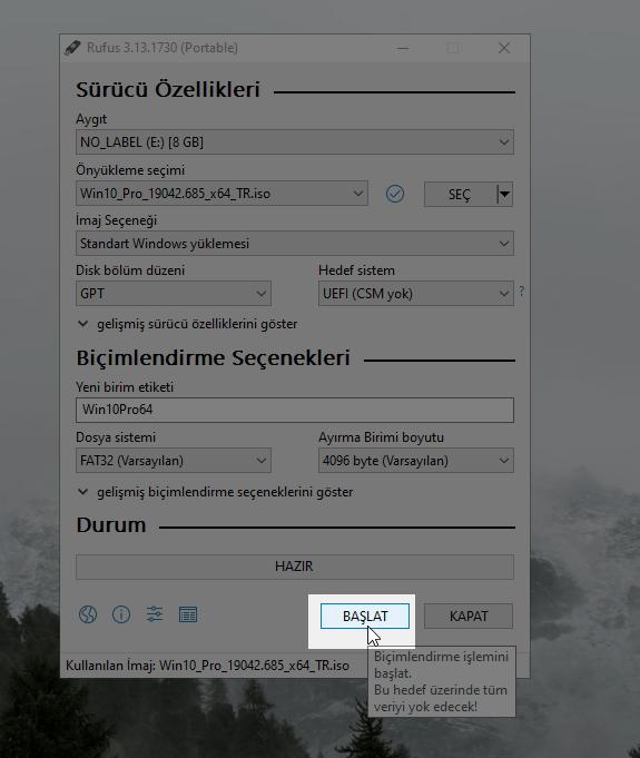 Bir ISO dosyasını bir USB sürücüsüne nasıl yazabilirim 6 – rufus6