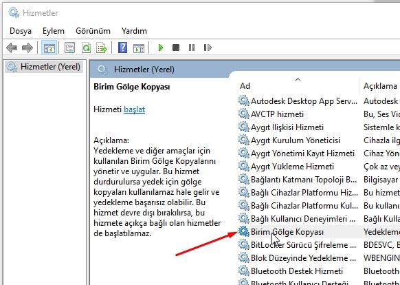 Windows 10 da Sistem Geri Yükleme Çalışmıyor Sorunu Düzeltme 21 – birim golge kopyasi