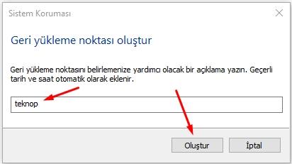 Windows 10 da Sistem Geri Yükleme Çalışmıyor Sorunu Düzeltme 8 – geri yukleme noktasi olustur3