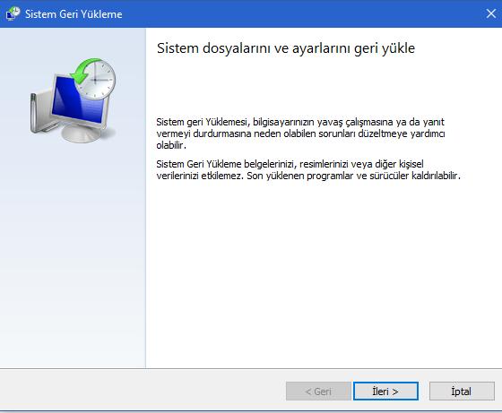 Windows 10 da Sistem Geri Yükleme Çalışmıyor Sorunu Düzeltme 13 – sistem geri yukleme ileri butonu