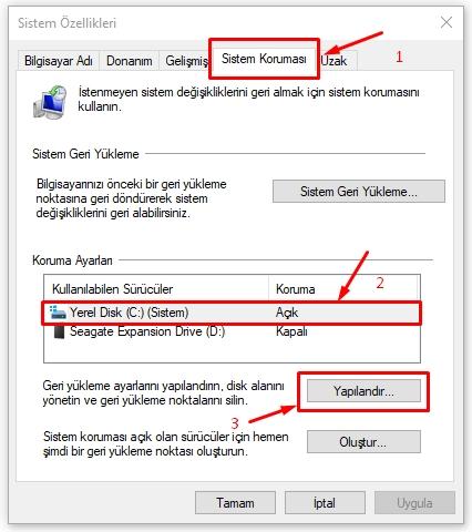 Windows 10 da Sistem Geri Yükleme Çalışmıyor Sorunu Düzeltme 4 – sistem korumasi3 1