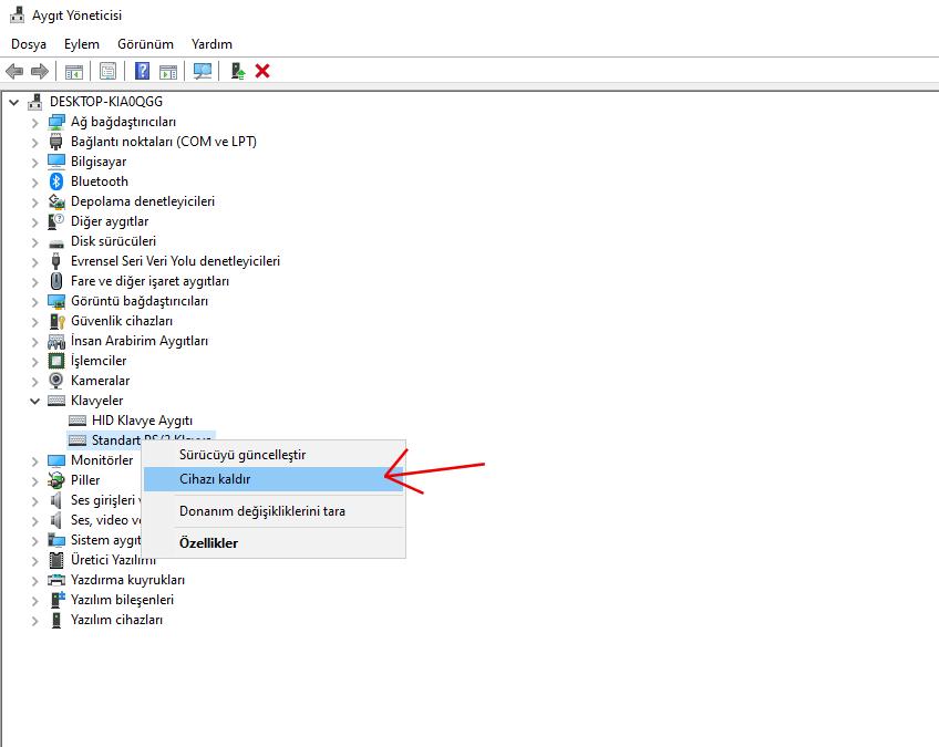 aygıt yöneticisi - klavye driver kaldır