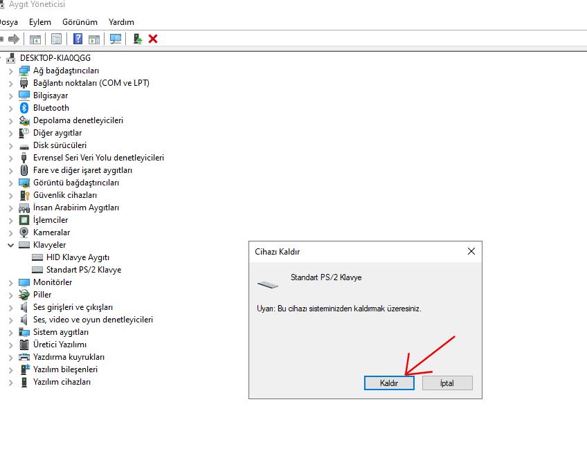 Klavye Nasıl Sıfırlanır? 1 – aygit yoneticisi klavye driver kaldir2