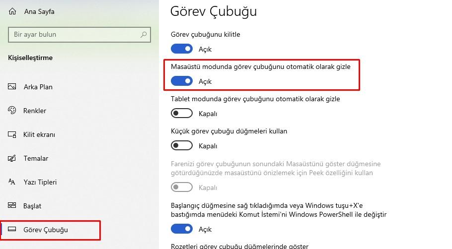 Windows Görev Çubuğu Gizleme